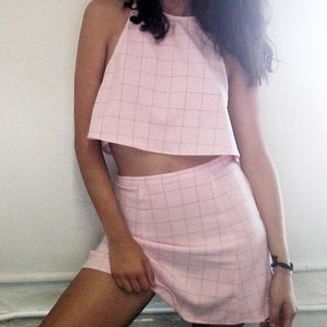 💅🏽American Apparel lulu 2piece pink grid 💅🏽