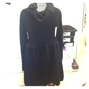 Vince wool and cashmere sweater dress w cowel neck