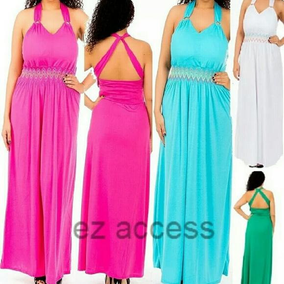 SALE Plus size halter summer sun maxi dress Boutique