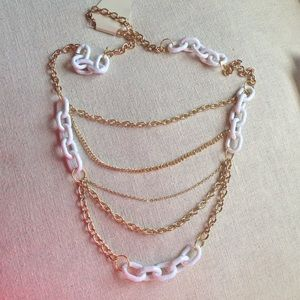 Gold and White Chain Link Necklace