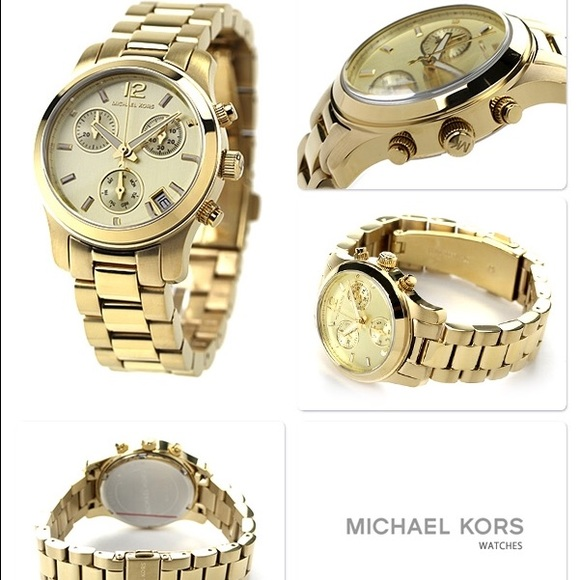 ✨Michael Kors gold tone MK 5384 mini Runway watch✨