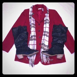 Red Wool Angora & Cashmere Blend Classic Blazer.