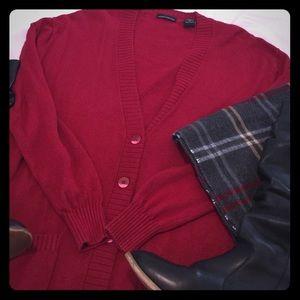 Red cashmere & Silk Tunic length cardigan sweater.