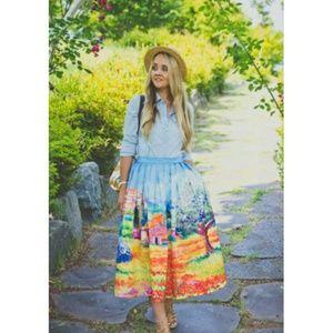 *Host Pick*Prairie Scenic Print Midi Skirt