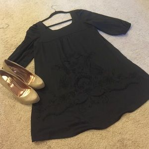 Black satin tunic/mini dress