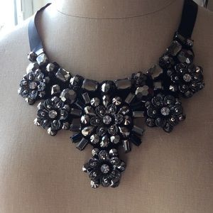 Gorgeous gun metal flower statement necklace