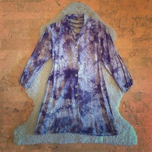 grey tie dye tunic with lace up back