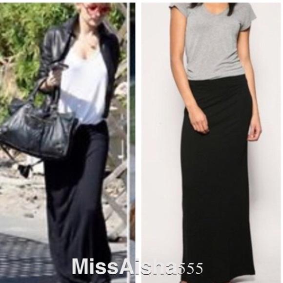 Straight Black Maxi Skirt - Dress Ala