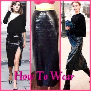 SALEVintage Vinyl Black PVC Maxi Skirt Sz 12