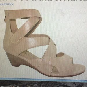 Shoes - NWT Criss Cross Beige Gladiator Sandal.