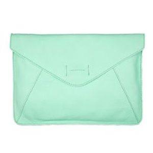 Gap mint leather envelope clutch