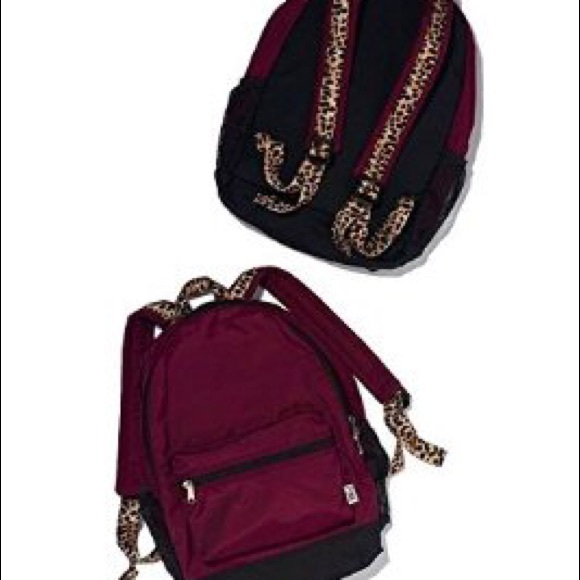 PINK Victoria's Secret - VS Pink maroon and cheetah backpack from ...