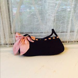 Handbags - Itsy Bitsy black satin w/pink bow clutch.