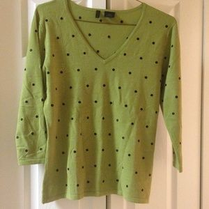 Sweaters - Green sweater with black dots...super cute!