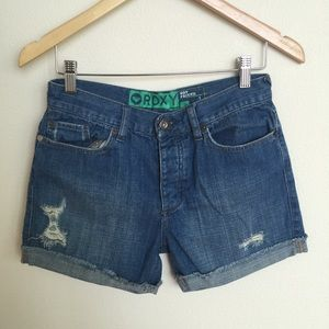 ROXY Boyfriend Distressed Cuffed Shorts