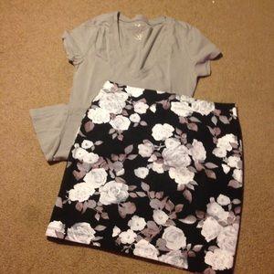 Forever 21 Dresses & Skirts - Floral Mini Skirt - Black n White