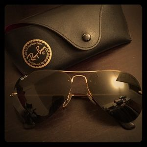 Authentic Rayban Aviators Gold Rimless