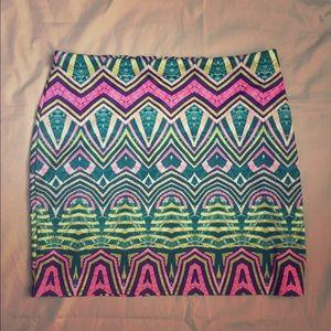 Colorful tribal pattern mini skirt!