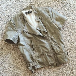 Zara olive green faux leather top