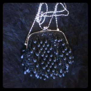 Black beaded Clutch/purse with cross body chain