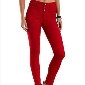 Refuge Red Hi-Waist Super Skinny Jeans