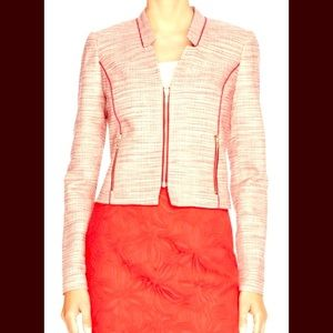 The Limited Red Tweed Moto Jacket