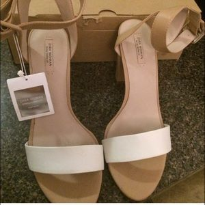 Zara white and nude heeled sandals