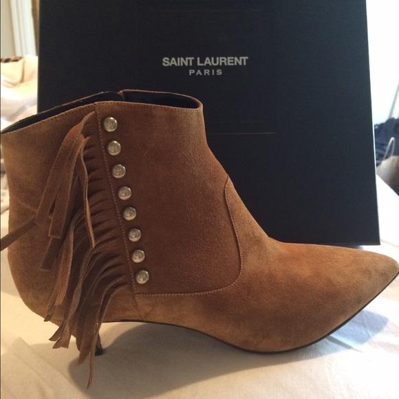 83e367a17e1 Yves Saint Laurent Shoes | Ysl Fringe Booties Size 395 | Poshmark