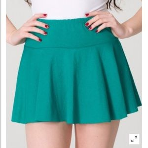 American Apparel knit jersey pleated green skirt