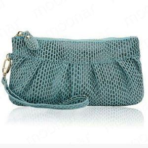 Clutch Clutches & Wallets - Leather Designer women Blue Zipper Wallet Clutch