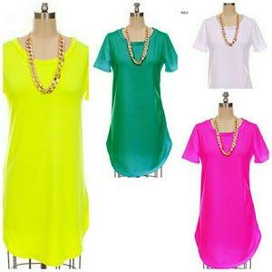 Fuschia pink shirt dress