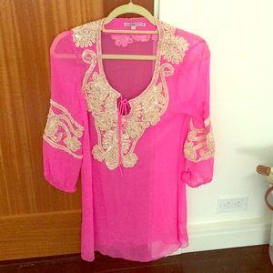 Calypso St. Barth Size XS Pink Beach Cover Up