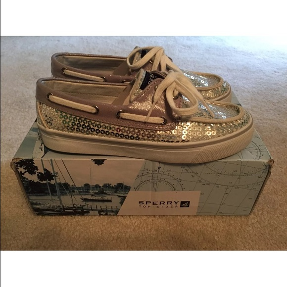 Women/'s Sperry Top Side Bahama Black Sequins Canvas Sneakers Boat Shoe Size 5