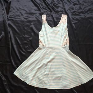 Poof Couture Dresses & Skirts - NWT Cream And Baby Blue Skater Dress