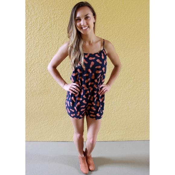 1e5fe4eb514 Dresses   Skirts - Navy Pineapple Romper