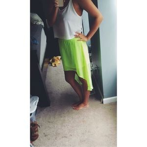 Neon high low skirt