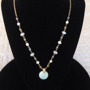 Beaded necklace/stone pendant