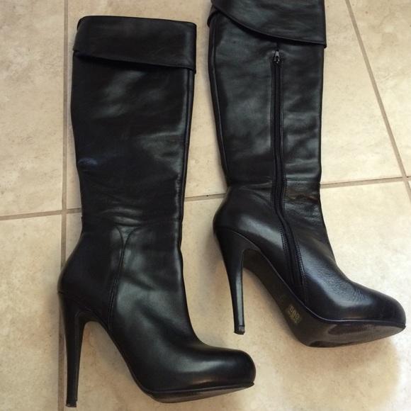 72 aldo shoes aldo black leather knee high boot