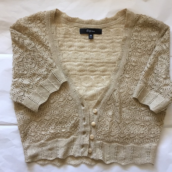 Express - Shimmer light gold crop cardigan ✨ from !...c's closet ...