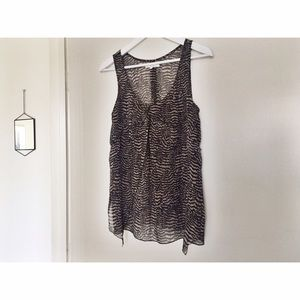 Madewell Feather Print Silk Tank Blouse - Small