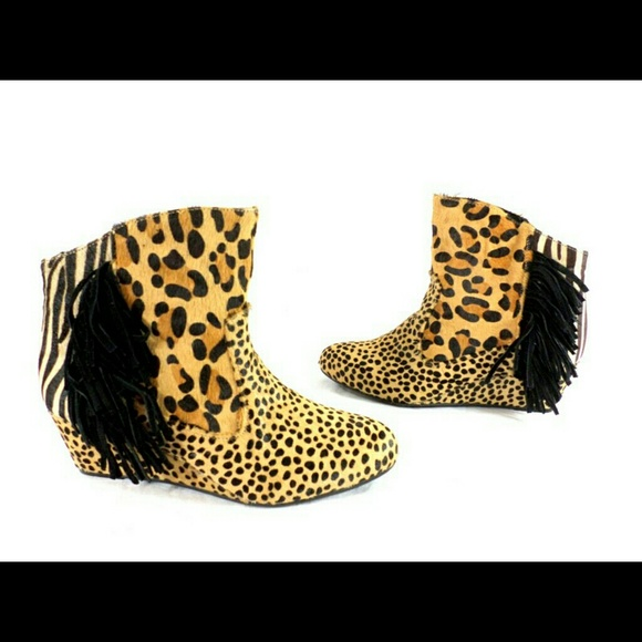 2ce228d39cd Calf hair fur leopard print suede fringe boots NEW