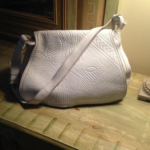 173f3b4d3be Prada white tooled leather bag. M 55a58410c5e890666b018c33