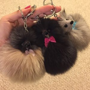 🐯fox fur key chain