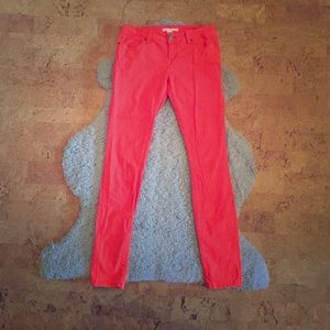 bright orange skinny jeans