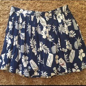 Hawaiian hollister flowy mini skirt