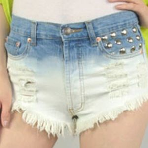 Pants - Ombré High Waisted Shorts