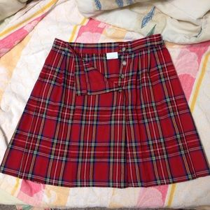 Red plaid button up skirt