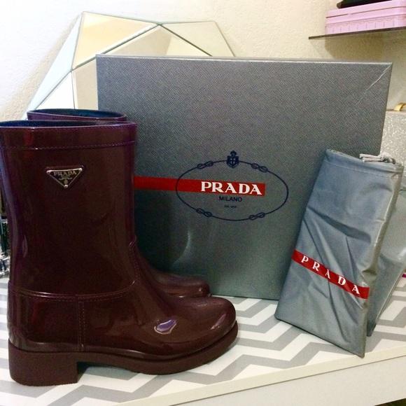 13% off Prada Shoes - ✴️HOLD✴ Burgundy Logo Short Rubber Rain ...
