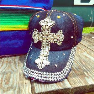 Accessories - Denim cross rhinestone cap