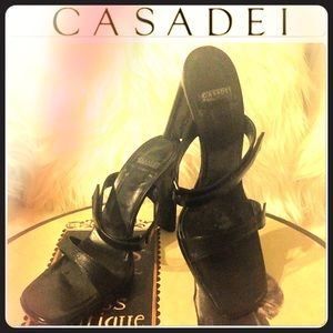 Casadei Shoes - CASADEI Black Sandals Unique Chunky Heel Design